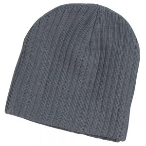 Acrylic knit beanie with cable row feature