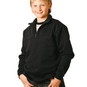 Kid's 1/2 zip collar fleecy sweat