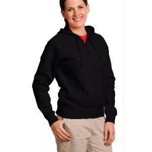 Ladies' full-zip fleecy hoodie