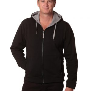 Men's Full Zip Contrast Fleece Hoodie