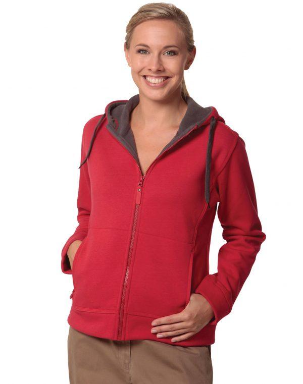Ladies' Full Zip Contrast Fleece Hoodie