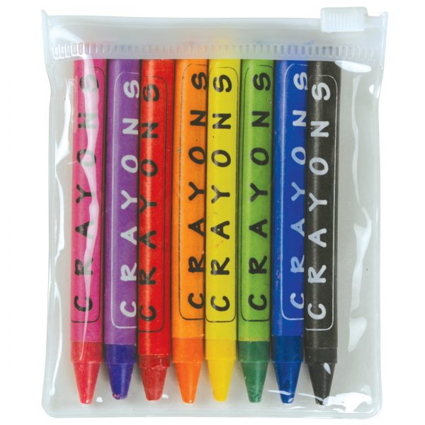 Assorted Colour Crayons in PVC Zipper Pouch