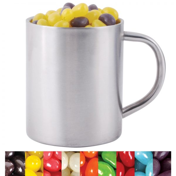 Corporate Colour Mini Jelly Beans in Stainless Steel Double Wall Barrel Mug