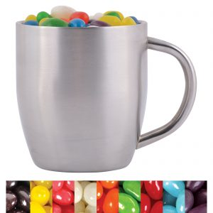 Assorted Colour Mini Jelly Beans in Stainless Steel Double Wall Curved Mug