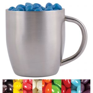 Corporate Colour Mini Jelly Beans in Stainless Steel Double Wall Curved Mug