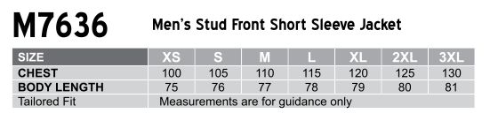 Men's Stud Front Short Sleeve Jacket