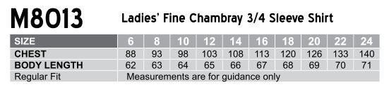 Women's Fine Chambray 3/4 Sleeve Shirt