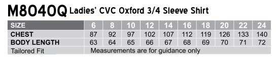Women's CVC Oxford 3/4 Sleeve Shirt