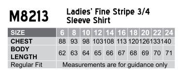 Women's Fine Stripe 3/4 Sleeve Shirt