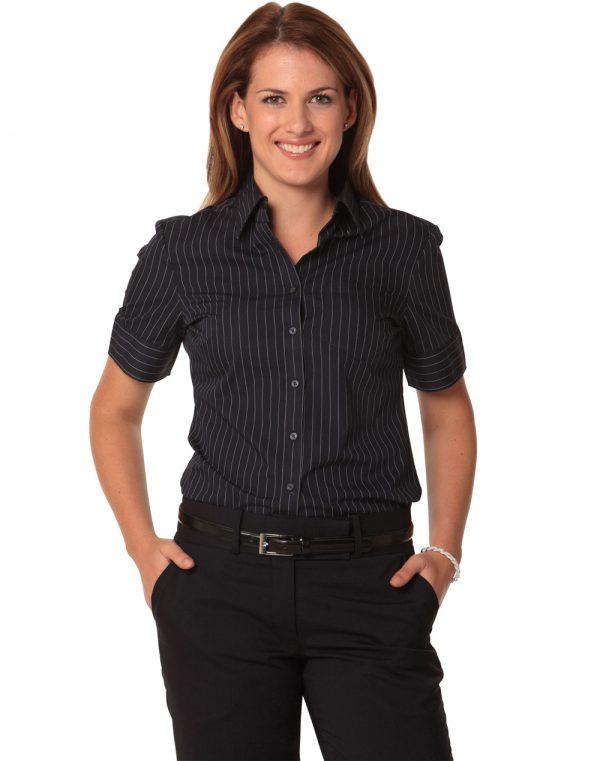 Women's Pin Stripe Short Sleeve Shirt