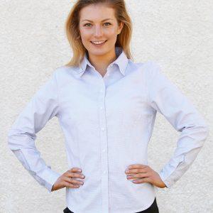 Ladies' Dot Contrast Long Sleeve Shirt