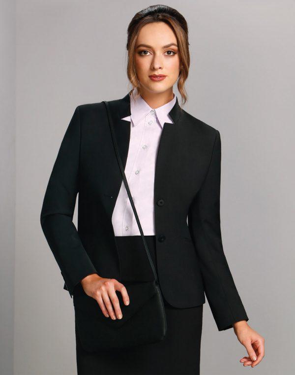 Ladies' Wool Blend Stretch Reverse Lapel Jacket