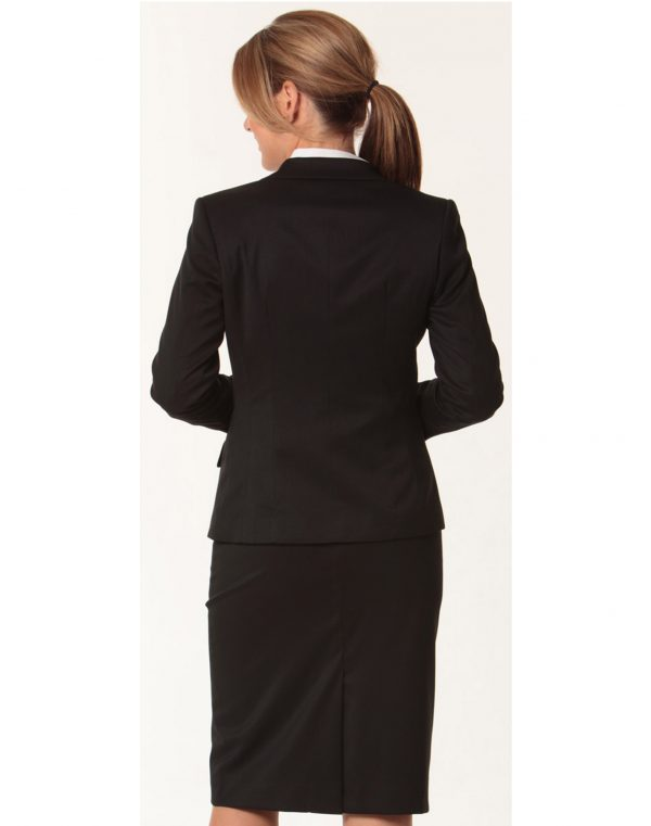 Women's One Button Cropped Jacket in Poly/Viscose Stretch