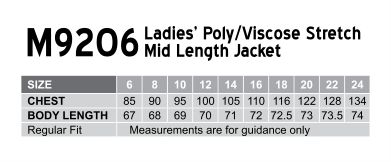 Women's Two Buttons Mid Length Jacket in Poly/Viscose Stretch