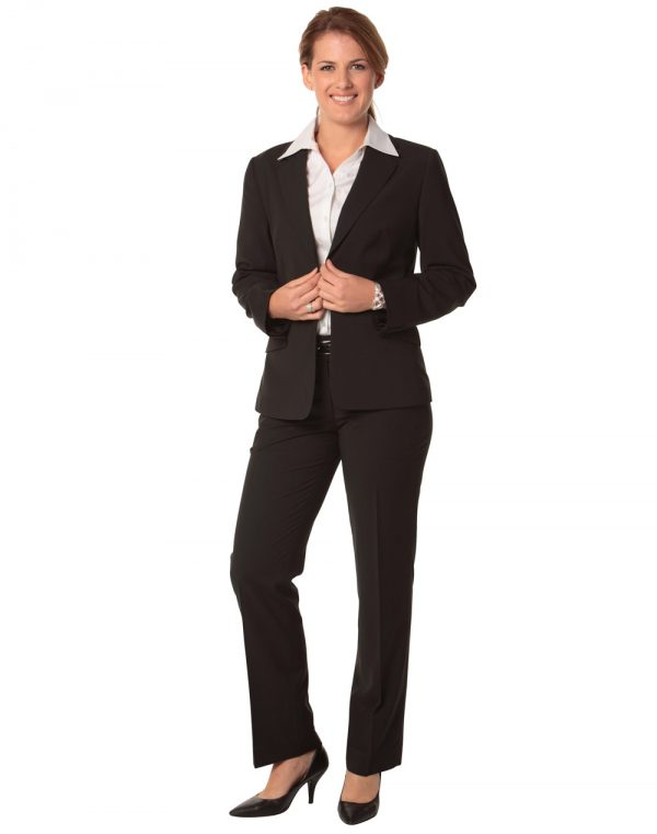Women's One Button Cropped Jacket in Poly/Viscose Stretch Stripe