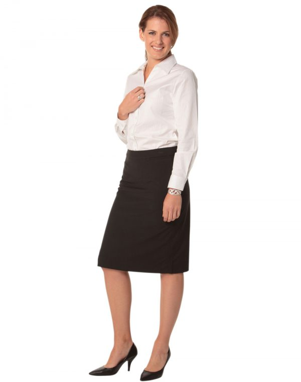 Women's Mid Length Lined Pencil Skirt in Poly/Viscose Stretch Stripe