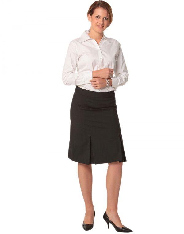 Women's Pleated Skirt in Wool Stretch