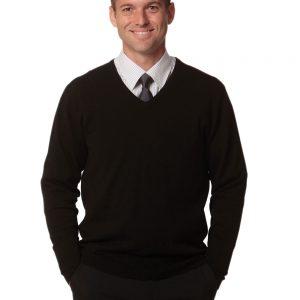 Men's 100% Merino Wool V Neck L/S Sweater