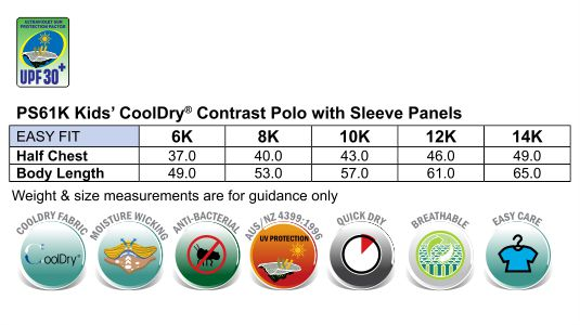 Kid's Cooldry Contrast Polo With Sleeve Panel