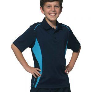 Kids' Cooldry S/S Contrast Interlock Polo