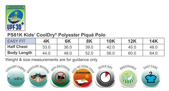 Kids' Cooldry Pique Soild Colour S/S Polo