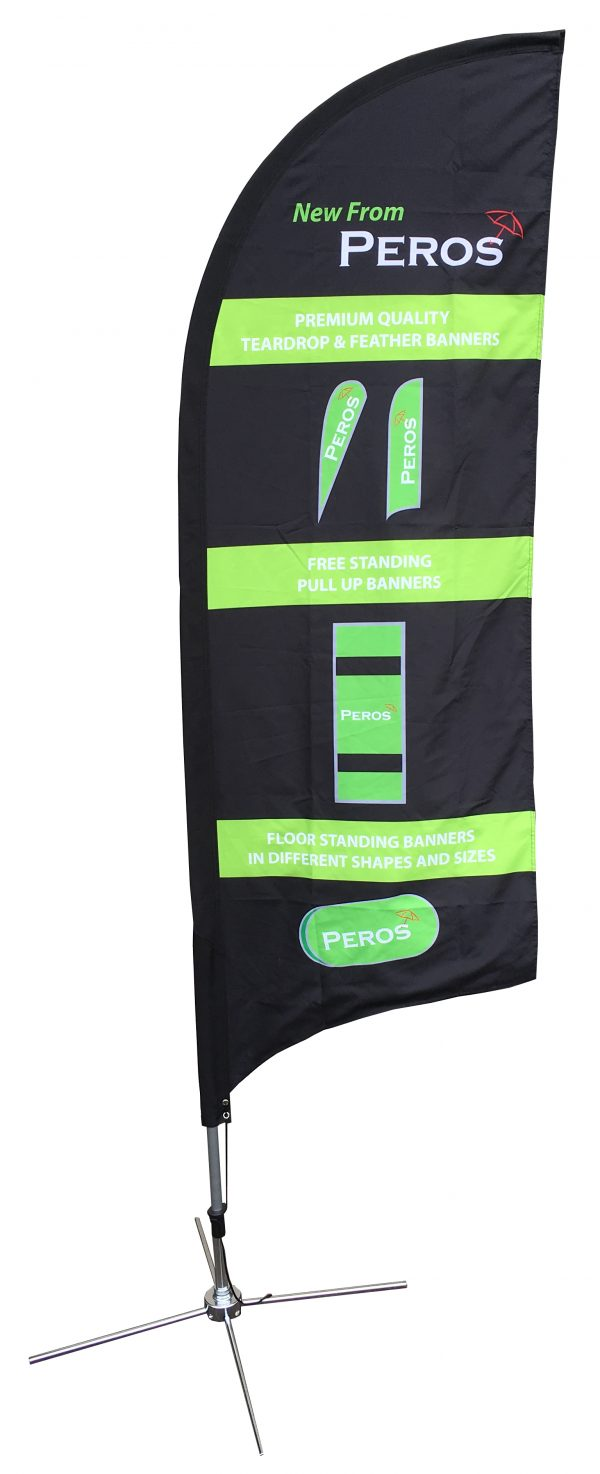 Small Premium Pongee Feather Banner - Double Sided Combo