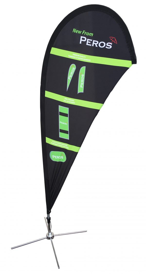 Small Premium Polyester Silk Teardrop Banner - Single Sided Combo