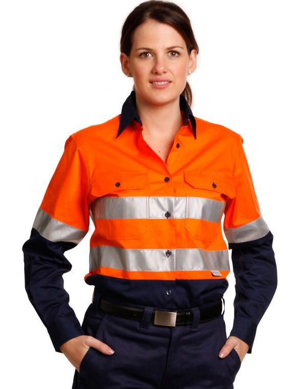 Ladies' Hi-Vis L/S Safety Shirt 3M Tape