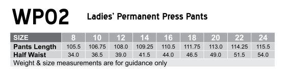 Ladies Permanent Press Pants