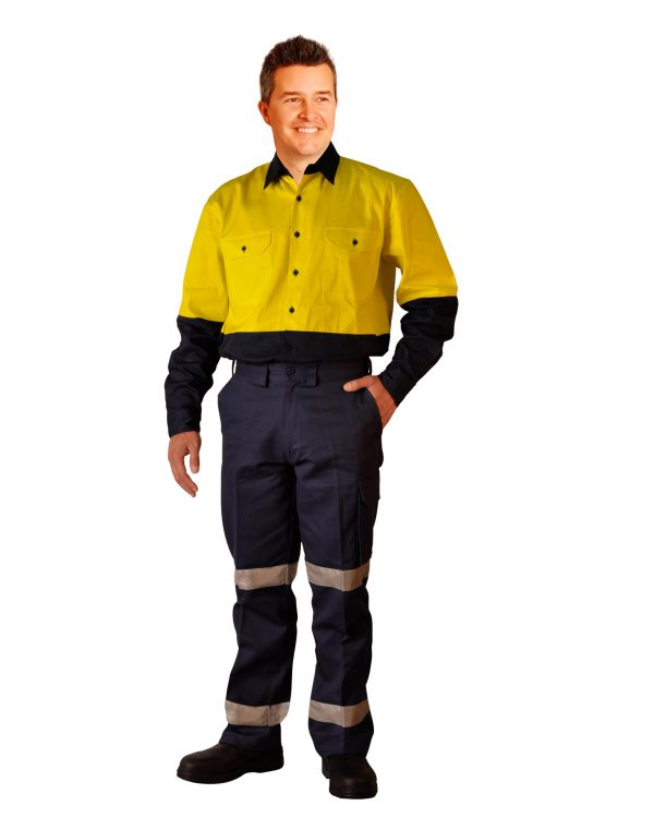 Long fit drill pants with 3M tapes / pocket on leg