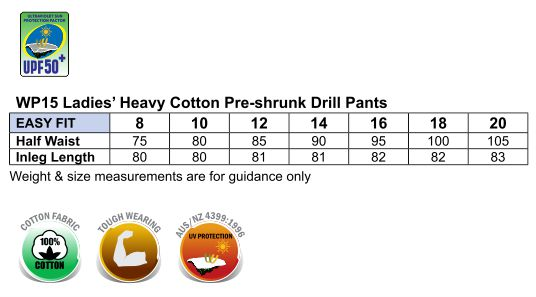 Ladies' Heavy Cotton Pre-Shrunk Drill Pant
