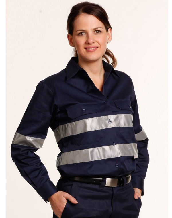 Ladies HiVis Cotton Drill Long Sleeves Work Shirt with 3M Reflective Taps